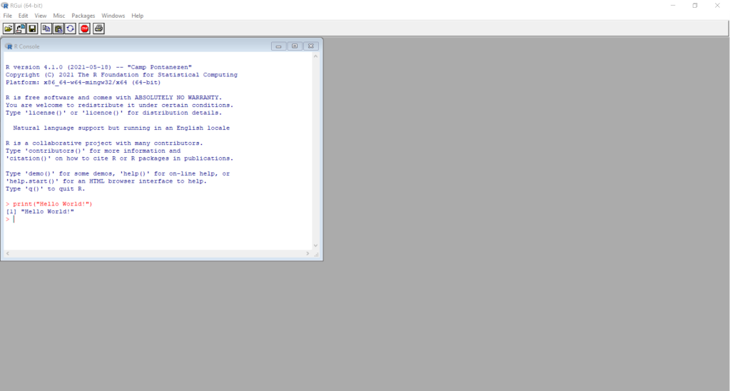 Image of using R in Windows